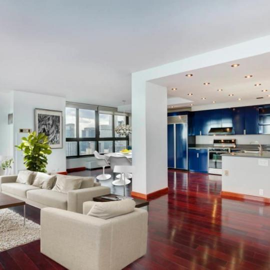 Living Area at 100 United Nations Plaza in NYC