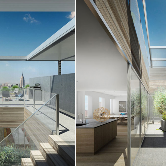 Sophisticated rooftop deck at 1 John Street