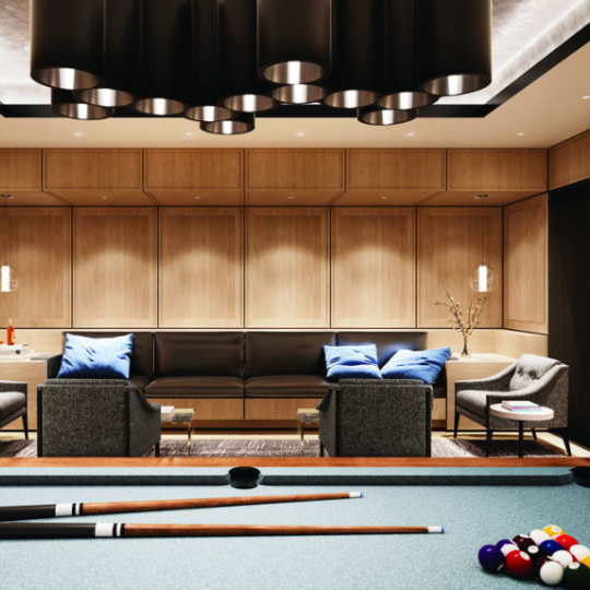 The Billiard Room inside the building at 221 West 77th Street in NYC