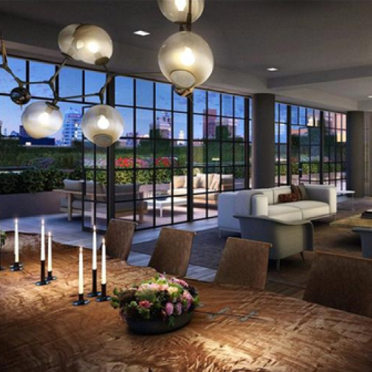Puck Penthouses Living Room, Dining Room, Terrace- Nolita NYC Condos for Sale