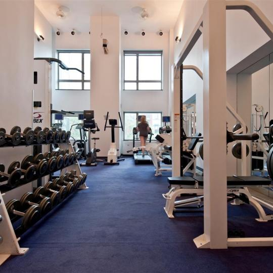 Fitness Center inside the building at Leighton House in Manhattan