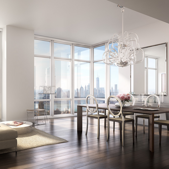 388 Bridge Street- Penthouse Living Room- condos for sale in NYC
