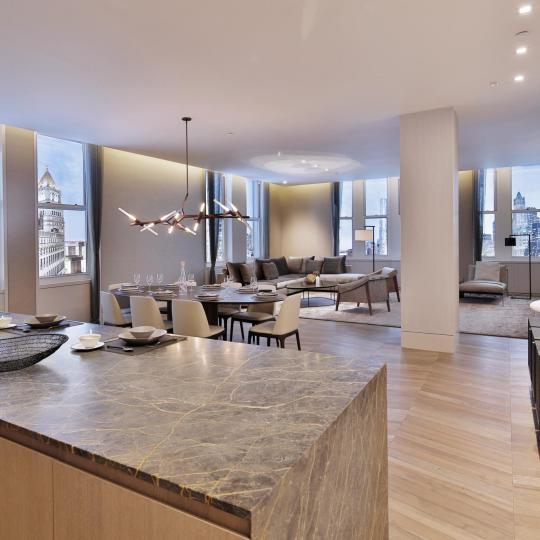 Living Area at 49 Chambers Street in Manhattan