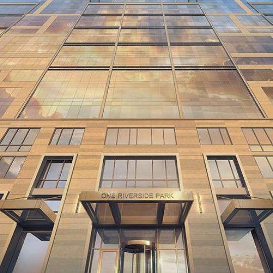 The Building's entry at One Riverside Park in Manhatta