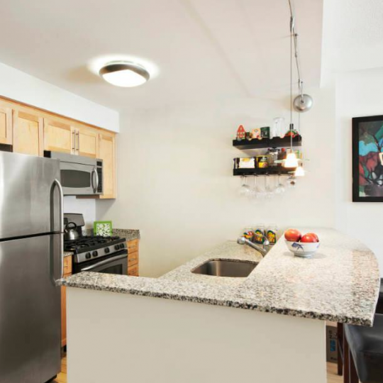 Open kitchen at 516 West 47th Steet in NYC