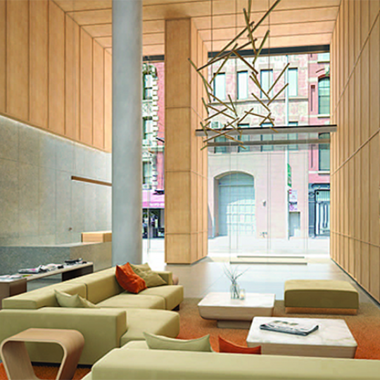 The Building's lobby at 565 Broome Street in NYC
