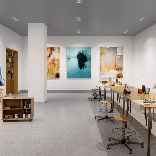 Condos for sale at Three Waterline Square in NYC - Art Studio