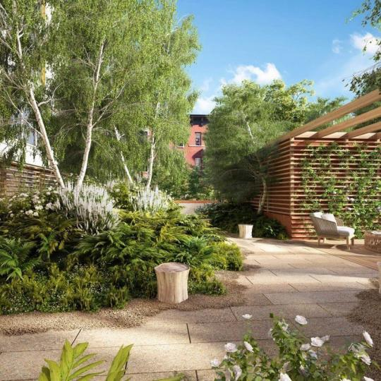 Landscape Courtyard at 75 Kenmare Street in Manhattan - Condos for sale