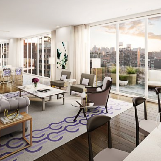 Chelsea Green Living Room-151 West 21st Street Manhattan New Construction Condos
