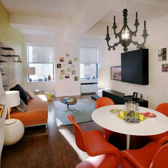 Deco Lofts Living Room - Financial District NYC Condominiums