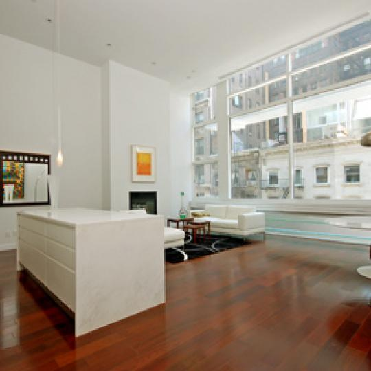 16 Warren Street Living Room and Open Kitchen - Manhattan New Condos