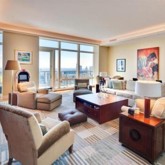 Residences at Mandarin Oriental Living Room - Condominiums for Sale NYC