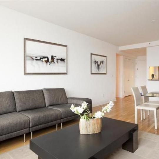 Trump Place Living Room and Kitchen - Upper West Side NYC Condominiums