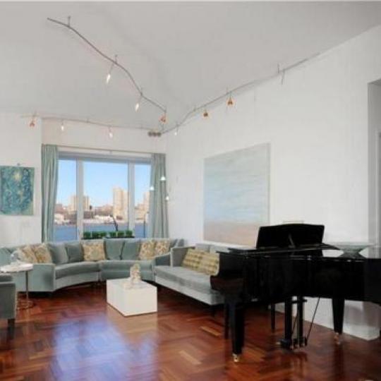 Trump Place Living Room - 220 Riverside Boulevard Condos for Sale