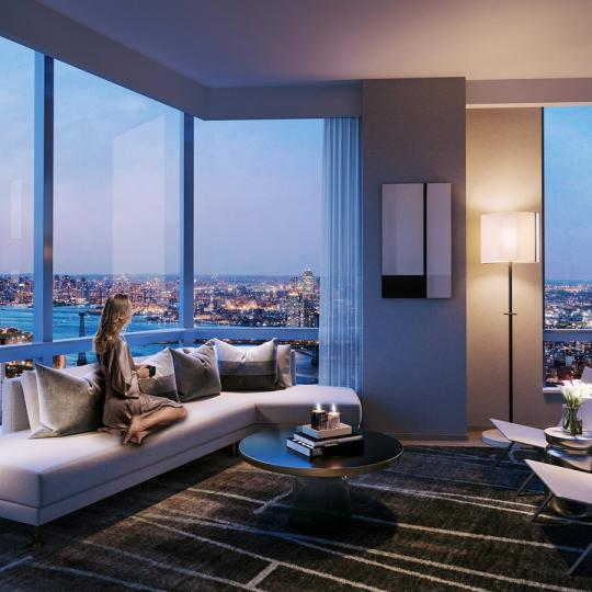 Living Room at Brooklyn Point in NYC - Apartments for sale