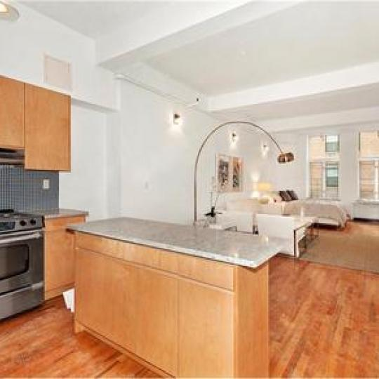 Kitchen and Living Room - The Clinton Lofts Building - NYC Apartments For Sale
