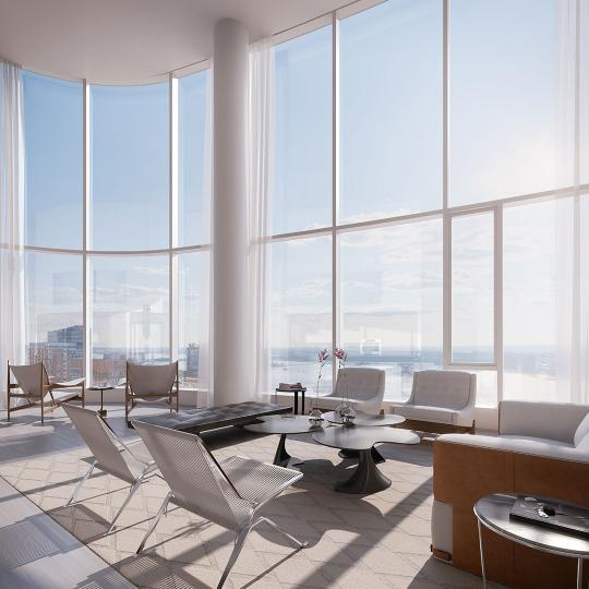 Living Room- 50 West Street- condominiums for sale in Manhattan