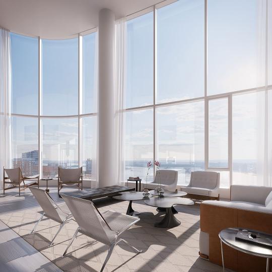 Living Room- 50 West Street- condominiums for sale in Manhattan