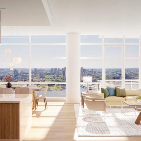 Open living room in 1 Seaport - Manhattan condos for sale
