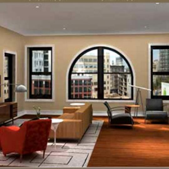 283 West Broadway Living room - Tribeca NYC Condominiums
