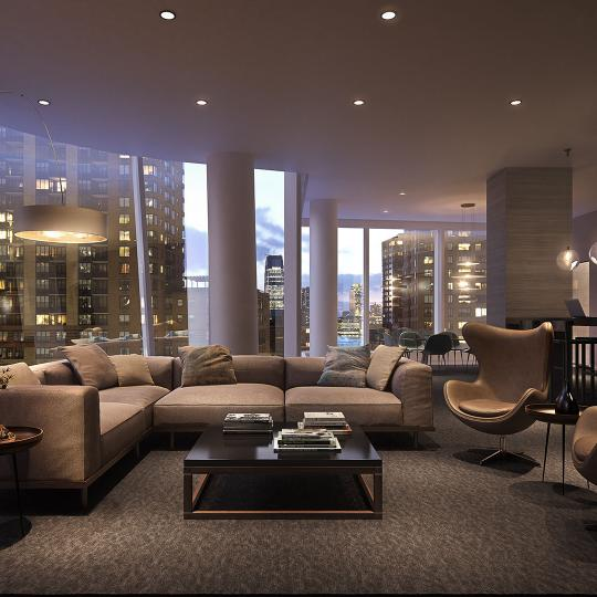 Lounge- 50 West Street- apartments for sale in Financial District