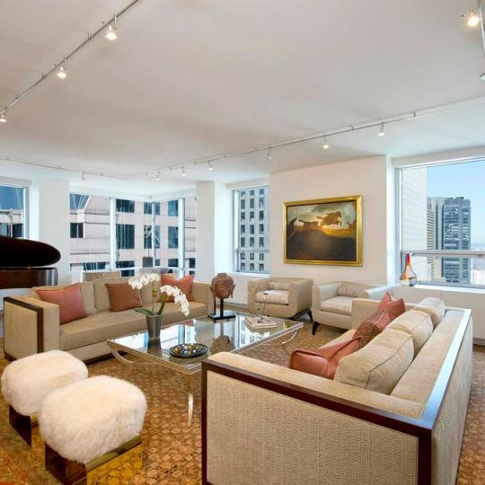 Museum Tower Living Room - 15 West 53rd Street Condos for Sale