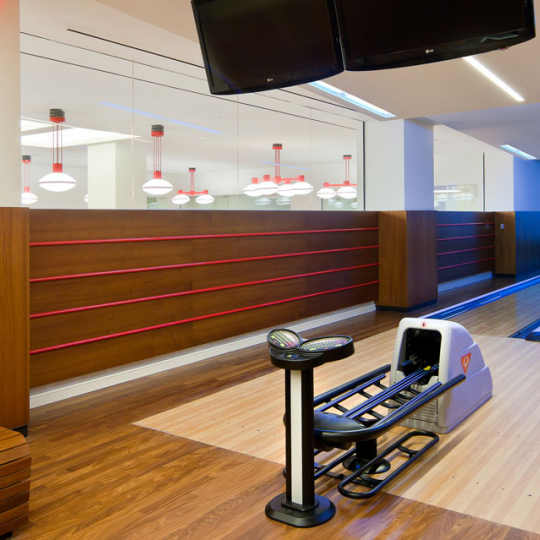 Bowling Alley inside the building at One Riverside Park