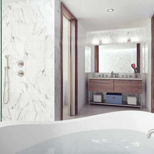 Pierhouse 90 Furman Street Brooklyn Bridge Park NYC Luxury Apartments Bathroom