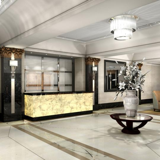 The Olcott Lobby Front Desk- 27 West 72nd Street Condos for Sale