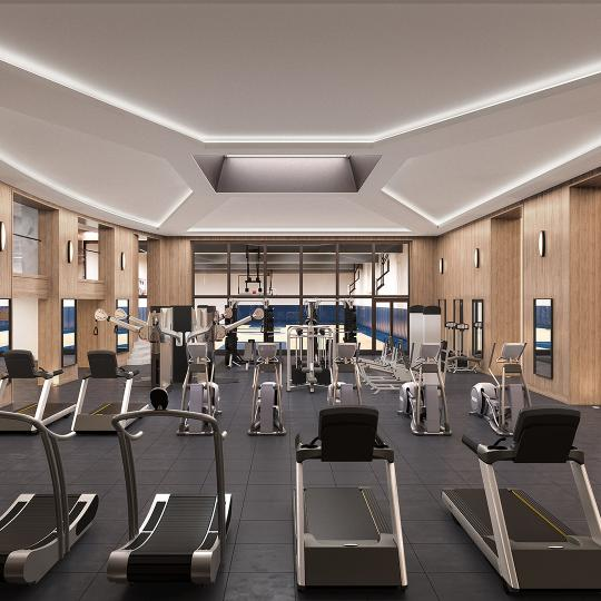Fitness Center at Three Waterline Square in Upper West Side - Condos for sale