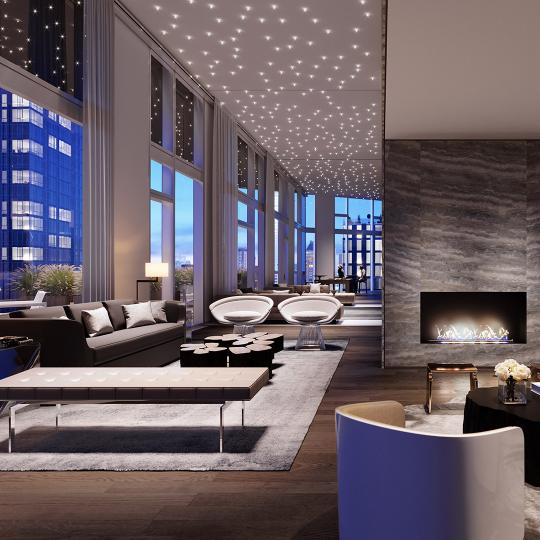 Great Room at Three Waterline Square in Manhattan - Apartments for sale