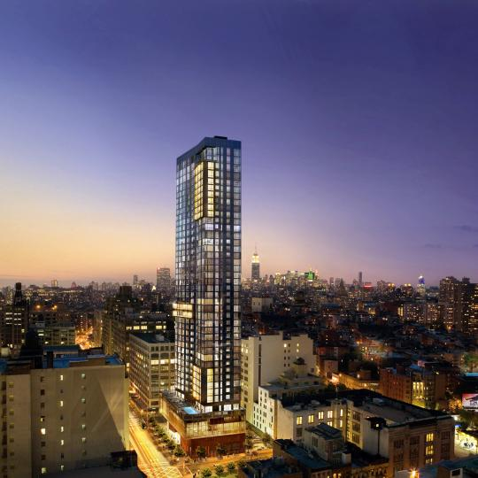 Trump Soho Condominium Hotel Building Night- Manhattan Condos for Sale