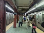Platform of Fulton Street & Broadway & Nassau Subway Station
