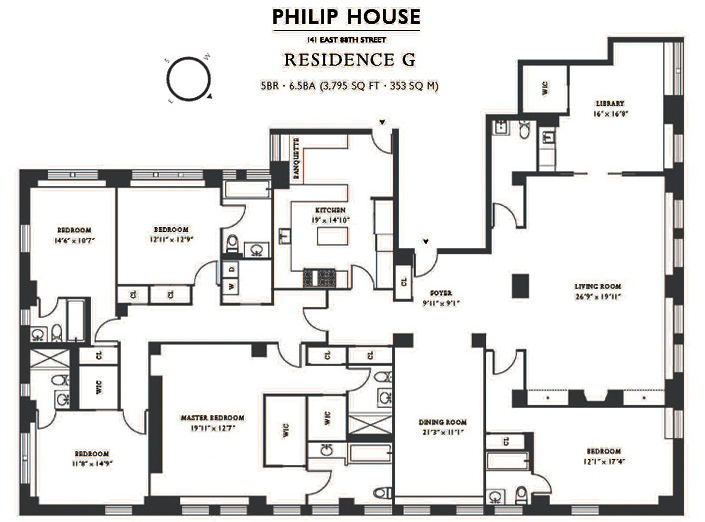 Philip house 141 east 88th street carnegie hill condos for 5 bedroom apartments