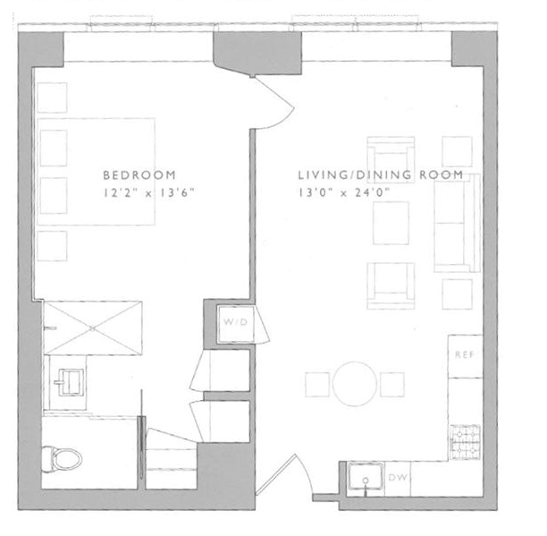 1 Bedroom Apartment In New York: 123 Washington Street
