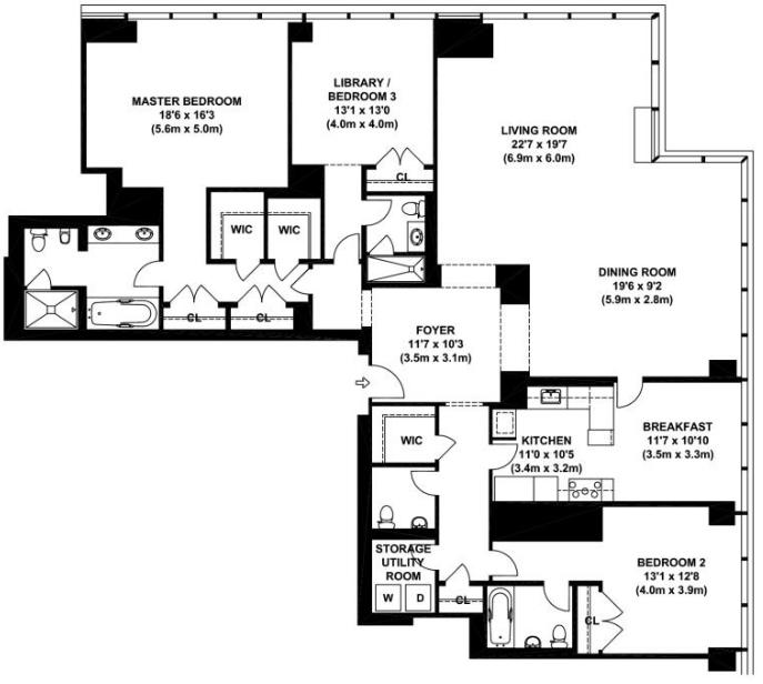 One beacon court 151 east 58th street midtown east for 1 bedroom condo floor plans