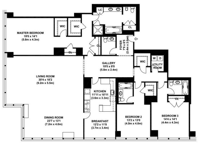One beacon court 151 east 58th street midtown east for Apartment floor plans new york city