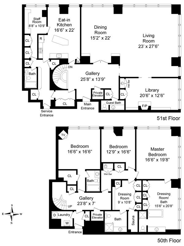 Olympic tower 641 fifth avenue midtown east condos for for Luxury apartment floor plans nyc