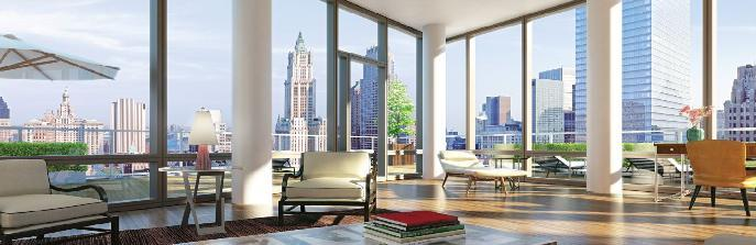 101 Warren Street Living Room - Manhattan Condos for Sale