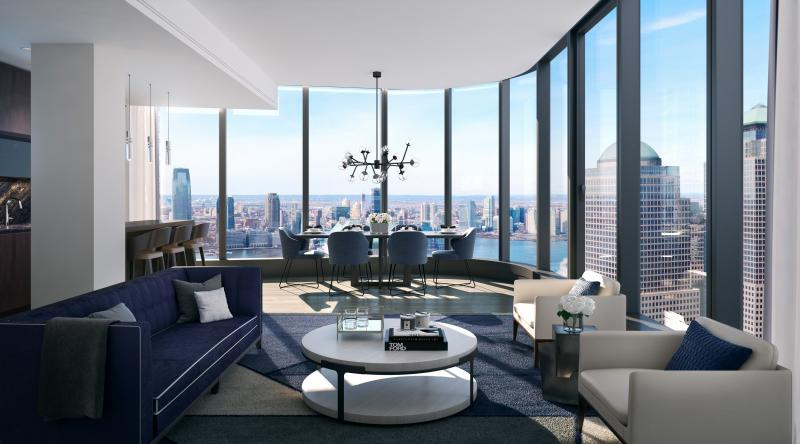 Living Room at 125 Greenwich Street in Manhattan - Aparments for sale