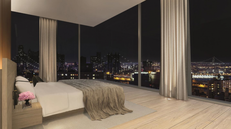 Stunning views from the bedroom at 215 Chrystie Street