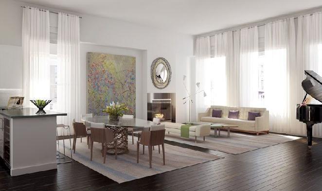 The Story House Living Room – Manhattan Condos for Sale