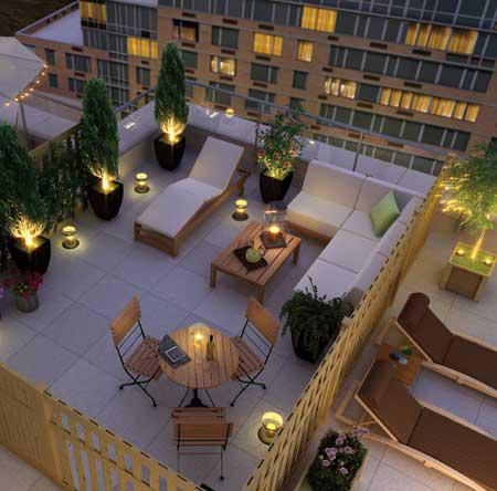 Riverwalk Court Rooftop Deck Lounge - 415 Main Street Condos for Sale