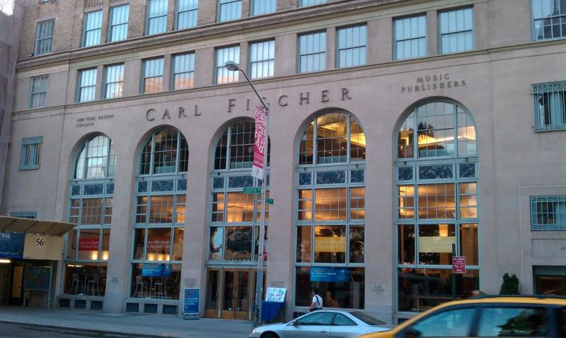 The Carl Fischer Building's entry in Greenwich Village