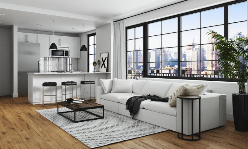 Living Room at Harrison in Long Island City - Condos for sale