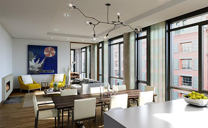 15 leonard Street- Living Room- condo for sale in NYC
