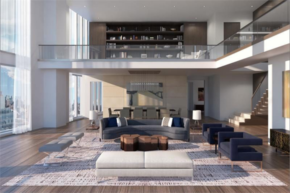 Rendering of a living room in 1 West End Avenue