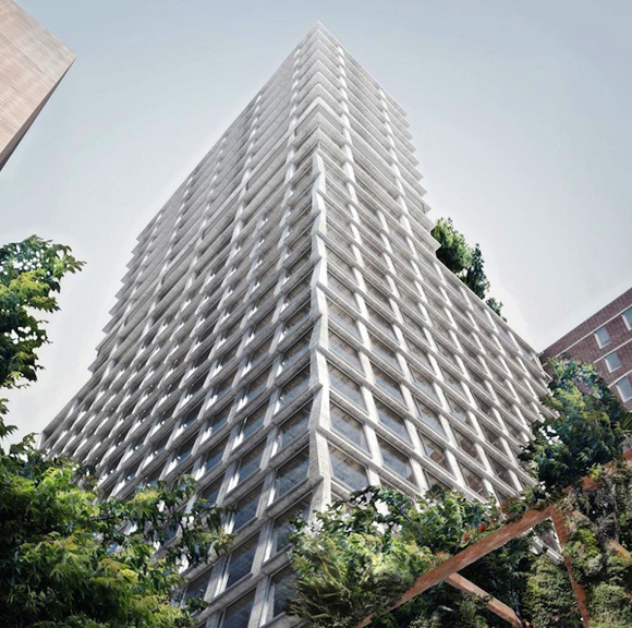 Early rendering of 215 Chrystie Street as designed by Herzog & de Meuron