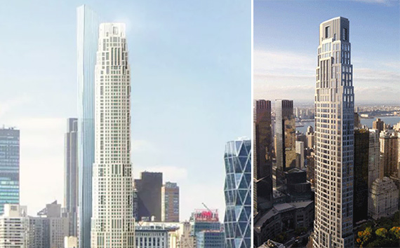Side by side renderings of 220 Central Park South, with the new rendering on the left.