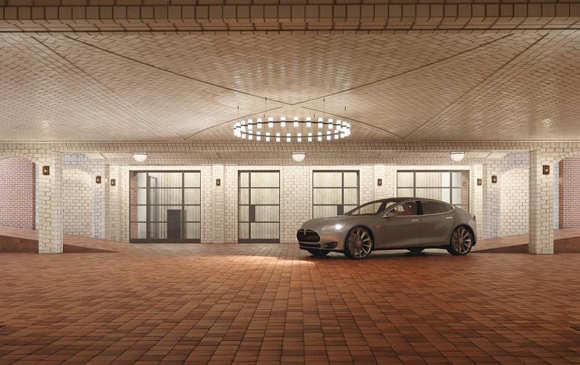 Manhattan condo garages utilitarian space polished for Ny city parking garages